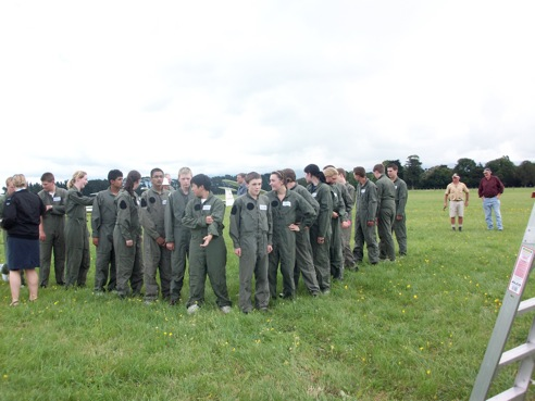 Air Training Corps student pilots prepare for their official camp photo at the 2010 ATC Gliding Camp, Dannevirke.