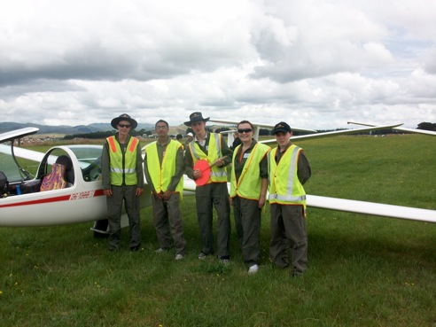 An enthusiastic group of Air Training Corps student pilots - assigned to fly DG-1000S, ZK-GDG for the week at the 2010 ATC Gliding Camp at Dannevirke!